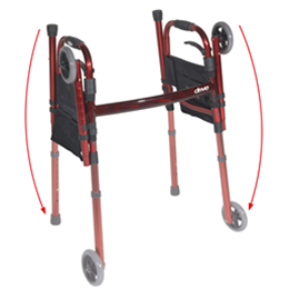 "Image of Portable Folding Travel Walker With 5"" Wheels And Fold Up Legs"