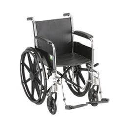 "Nova Medical Products :: 18"" STEEL WHEELCHAIR WITH FIXED ARMS & FOOTRESTS - 5080S"