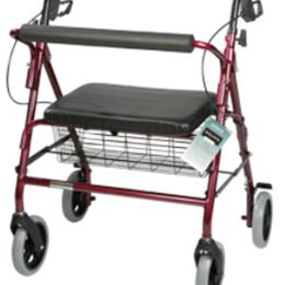 Roscoe Medical :: Rollator Bariatric w/Pad Seat Red  w/Basket