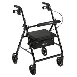 "Drive Medical :: Walker Rollator with 6"" Wheels, Fold Up Removable Back Support, and Padded Seat"