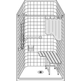 "Best Bath Systems :: One piece 38"" x 38"" Barrier Free shower with .5 inch threshold - Classic Tile"