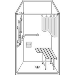 "Image of One piece 38"" x 38"" Barrier Free shower with .5 inch beveled threshold and center drain. 2"