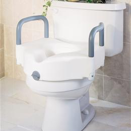 SEAT TOILET RAISED LOCKING W/ARM - Image Number 5758