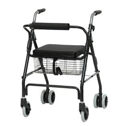 Image of Aluminum Rollator with Pushdown Brakes & Basket 2
