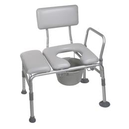 Image of Padded Seat Transfer Bench With Commode Opening 2