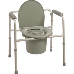 Roscoe Medical :: Three-in-One Steel Commode with Plastic Armrests 350lb Weight Capacity