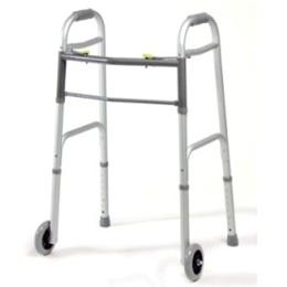Image of Adult Dual-Release Folding Walker with Wheels 1