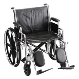 "Nova Medical Products :: 22"" STEEL WHEELCHAIR WITH DETACHABLE ARMS AND ELEVATING LEG RESTS"