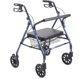 "Drive :: Drive Go-Lite Bariatric Steel Rollator, Padded Seat, 8"" Casters with Loop Locks"