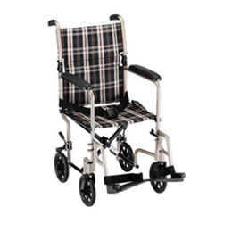 "Image of 19"" Transport Chair Plaid Upholstery in Tan 2"
