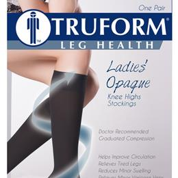 Image of 0371 TRUFORM Ladies' Opaque Knee High Open-Toe Stockings 4