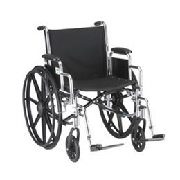 "Nova Medical Products :: 20"" STEEL WHEELCHAIR WITH DETACHABLE ARMS AND FOOTRESTS - 5200S"