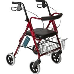"Roscoe Medical :: Deluxe Rollator Burgundy 8""wheel"