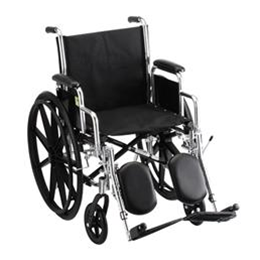 "Nova Medical Products :: 20"" STEEL WHEELCHAIR WITH DETACHABLE ARMS AND ELEVATING LEG RESTS - 5200SE"