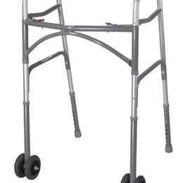 Drive Medical :: Double Button Bariatric Adult Folding Walker  w/Wheels