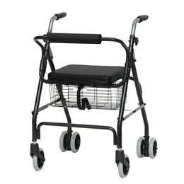 Image of Aluminum Rollator with Pushdown Brakes & Basket 1