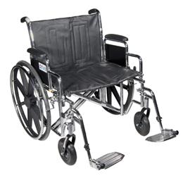 Drive Medical :: Wheelchair Std Dual-Axle 22  w/Rem Full Arms & Elev Legrest