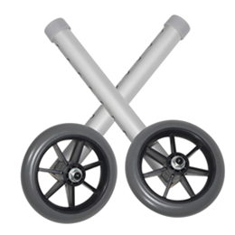 "Drive :: 5"" Universal Walker Wheels with Adjustment Column and Rear Glides"