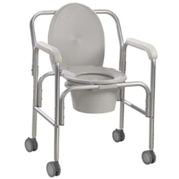 Image of Aluminum Commode with Wheels