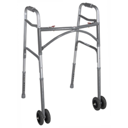 Drive :: Bariatric Aluminum Folding Walker, Two Button with Heavy-Duty Wheels