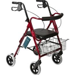 "Roscoe Medical :: Deluxe Rollator with Padded Seat and 8"" Wheels"