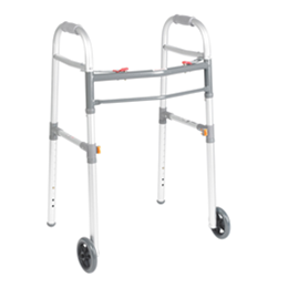 "Drive :: Universal (Adult/Junior) Folding Walker, Two Button with 5"" Wheels"