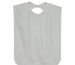 Bib - Easy on/off with hook and loop closure. Made of absorbent, durab