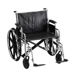 "Nova Medical Products :: 24"" STEEL WHEELCHAIR WITH DETACHABLE ARMS AND FOOTRESTS"
