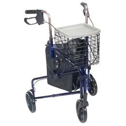 Drive Medical :: 3 Wheel Walker Rollator with Basket Tray and Pouch