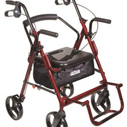 Image of Duet Rollator/Transport Chair Burgundy 2