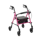 Adjustable Height Rollator Walker Pink