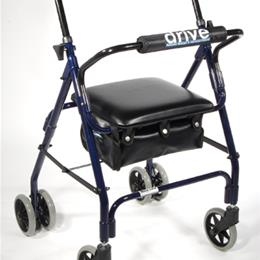 Drive Medical :: Rollator Mimi-Lite 4-Wh w/Pad Seat-Push Brakes Blue(510)