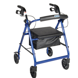 "Drive :: Drive Aluminum Rollator with Fold Up and Removable Back Support, Padded Seat, 6"" Casters"