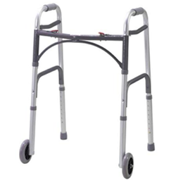 Deluxe Folding Walker, Two Button with Wheels