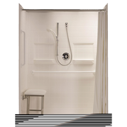 "Best Bath Systems :: Five piece 60"" x 30"" barrier free shower with 1.75 inch threshold - RealTile"