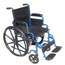 "Image of Blue Streak Wheelchair 20"" Seat With Flip Back Detachable Desk Arms And Swing Away Foot Rest 2"