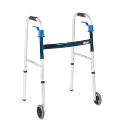"Image of Deluxe Trigger Release Folding Walker with 5"" Wheels 2"