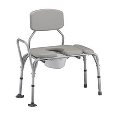 Image of PADDED TRANSFER BENCH WITH COMMODE Model: 9073 2