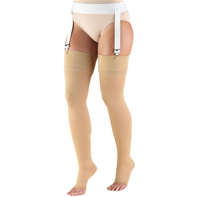 Image of 0866 TRUFORM Classic Compression Ladies' Thigh High, Open Toe Stocking 2