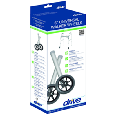 "Image of 5"" Universal Walker Wheels with Adjustment Column and Rear Glides 3"