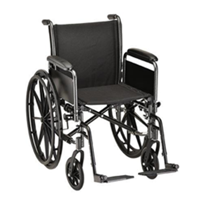 "Image of 16"" Steel Wheelchair with Detachable Arms and Footrests 2"