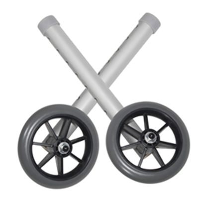"Image of 5"" Universal Walker Wheels with Adjustment Column and Rear Glides 2"