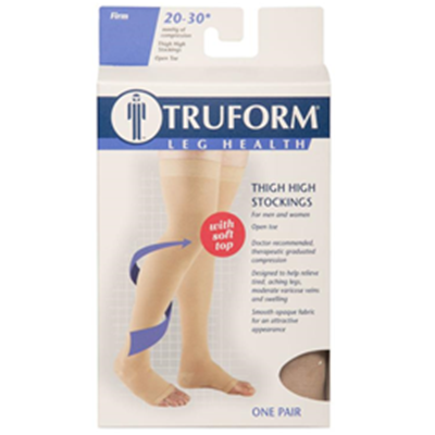Image of 0866 TRUFORM Classic Compression Ladies' Thigh High, Open Toe Stocking 3