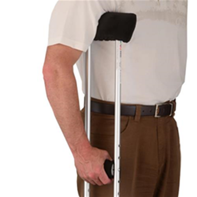 Image of Crutch Cover Set in Black Microfiber 2