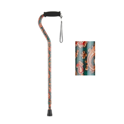 Image of Offset Cane with Strap - Green Paisley 2