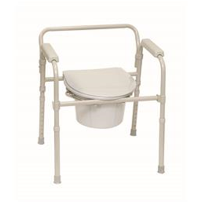 Image of Folding Deluxe Commode with Elongated Seat