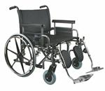 "WHEELCHAIR BARIATRIC 26 "" RFLA ELR - Excel Shuttle Wheelchair. Seat 26""W X 20""D; Black, Vinyl Upholst"