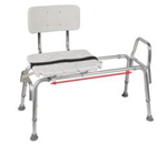 Snap n Save Sliding Transfer Bench - Transfer Bench with Cut-Out Molded Seat Back with removable cut-
