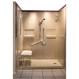 Best Bath Systems :: Five Piece Barrier Free Shower with Low Entry and End Drain