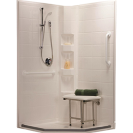 "Best Bath Systems :: Three piece 42"" x 42"" barrier free, neo-angle shower with .75 inch beveled threshold and center drai"